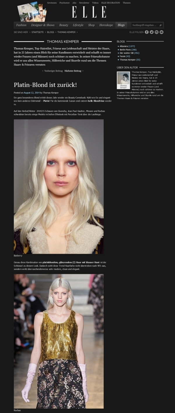 Elle.de  Platin-Blond Thomas Kemper